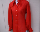 Vintage 70s Red Semi-Sheer Button Down Blouse / Shirt w/ Big Pointy Collar and Full Sleeves / Sz Med