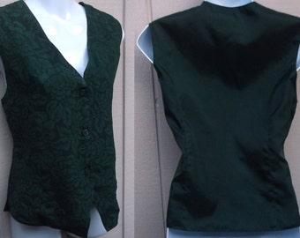 Vintage 90s Dark Green Silk Damask Vest waistcoat // size Med