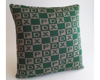 PDX Arrivals Pillow - Loom Knit Cotton/Linen - Portland Oregon - Silver & Forest Green
