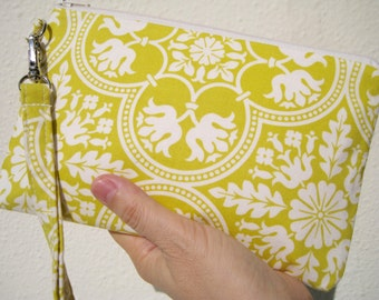 Wedding Clutch 2 pockets gift pouch,medium,yellow,discount plan set,wristlet gift for her- Historic tile in citron