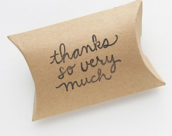 Thank You Kraft Pillow Boxes | 10 Kraft Paper Gift Packaging Boxes 3.5 x 3 x 1 Inch