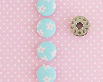 Fabric Buttons 3/4 Inch | 4 19mm Turquoise and Pink Floral Fabric Covered Shank Buttons