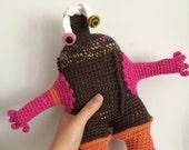 Monster Doll Amigurumi Stuffed Animal Plush Kawaii Plushie Softie, Collectible Crochet Soft Art Sculpture - Knotty Knucklehead