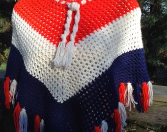 Vintage Red White Blue Poncho