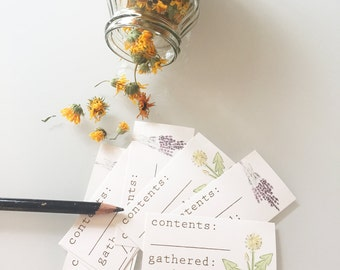 Herb collection labels, garden harvest tags, plant medicine, herbalist, nature gift, herb storage, medicinal plants, forager