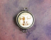 Framed Face Link Pendant in Peachy Tan and Brass Finish Pewter