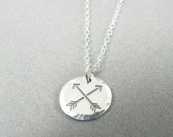 Crossed Arrows Sterling Silver Hammered Deckle Edge Charm Necklace Friendship Two Arrows Textured Pendant Archer Archery Jewelry