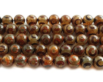 Tibetan Style Agate Brown Third Eye Gemstone Beads