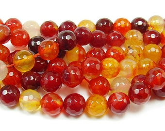 Nectarine Red Agate Faceted Gemstone Beads