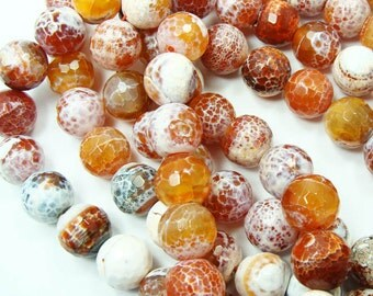 Red Orange White Fire Agate Faceted Gemstone Beads