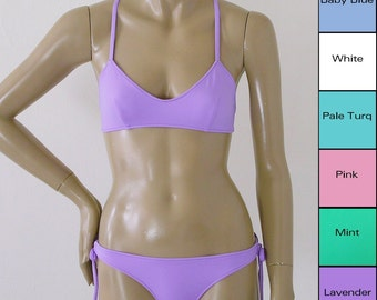 Crossback Ballet Bikini Top and Tie Bottom Bikini in Lavender, Pink, White, Baby Blue, Mint, Turquoise, Coral