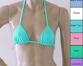 Triangle Bikini Top in White, Pink, Mint, Baby Blue, Pale Turquoise and Lavender Sizes to DD Cup