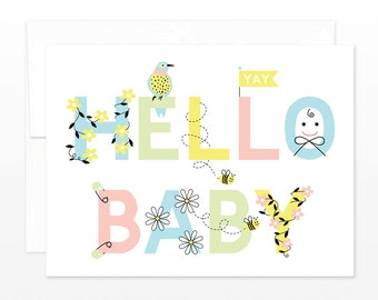 Cute New Baby Card, Hello Baby Greeting Card, Baby Shower Card, New Parents Card, Cute New Baby Card, Baby Congratulations Card, Birth Card
