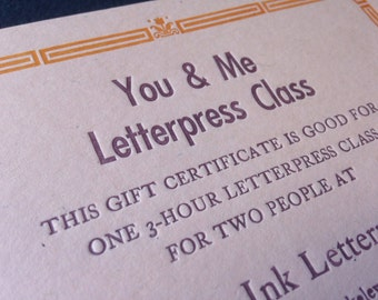 Gift certificate for two-person letterpress class