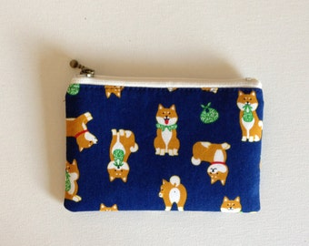 Mini zipper pouch  - shiba inu navy