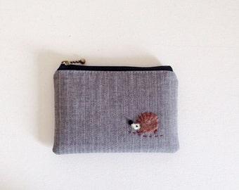 mini zipper pouch  - grey wool stripe with a hedgehog applique
