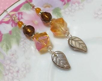 Czech Glass Leaf Earrings, Iridescent Fall Earrings, Autumn Orange Brown Earrings, Brown Leaf Earrings, Surgical Steel, KreatedByKelly