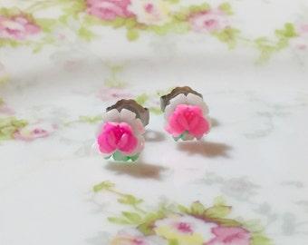 Tiny Vintage Pink Flower Studs, Surgical Steel Earrings