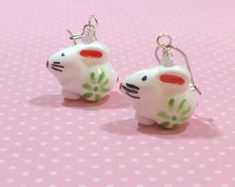 Painted Porcelain Bunny Earrings, Kawaii Rabbit Earrings, Easter Earrings, Spring Jewelry, Cute Bunny Dangle Earrings, KreatedbyKelly (DE1)