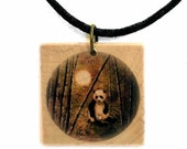 Panda Bears Baby Golden Bamboo Moon on Wood Art Handmade Jewelry Necklace