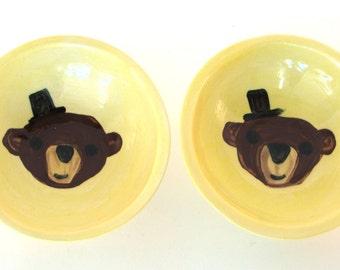 Gentleman bear little dipping bowls, salt and pepper, prep bowls