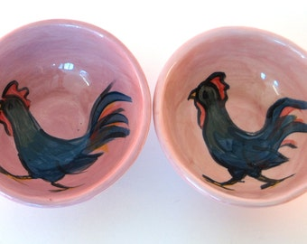 Little Chicken dipping bowls, sushi, salt and pepper, mini, serving, pottery, ceramic, rooster