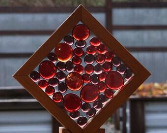 Sun Catcher Freestanding Red Purple Glass Kaleidoscope Suncatcher