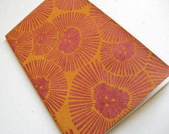 LINED MOLESKINE JOURNAL - Chrysanthemum Design - Block Printed Cover - 5x8 Floral Notebook - Flower Power Journal