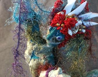 Custom soft Sculpture Mermaid fabric and beaded Art Doll