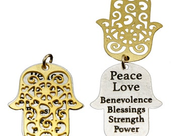 Combination Pendant, Etched Pendant, Combo Pendant, Hamsa Pendant, Hand of Fatima, Quotation Jewelry, Inspiration Jewelry, 2-Piece Pendant