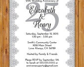 25th Wedding Anniversary Invitation Grey Silver Digital Lace Twenty Five Years Printable 5x7 Digital JPG File (518)
