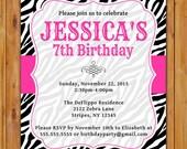 Pink Black Zebra Print Birthday Party Invitation  Girl's 7th 8th 9th Preteen Teen Adult 13th Animal Print Invite 5x7 Digital JPG File (521)