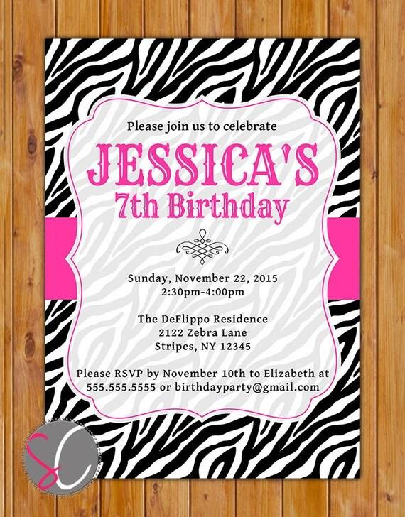 Pink Black Zebra Print Birthday Party Invitation Girls 7th 8th 9th ...