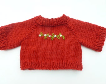 Knit sweater for doll or teddy bear ready to ship