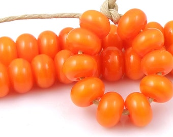 412 Orange Spacers - Handmade Lampwork Glass Beads 5mmx9mm - SRA (Set of 10 Spacer Beads)