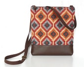 Small Crossbody Purse, Zipper Cross Body Bag, Fabric Hip Bag - Steppes Tribal in Red, Orange, Gray and Brown