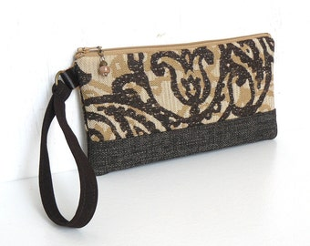 SALE - Wristlet Clutch, Zipper Pouch with Wrist Strap - Cassia Tapestry in Espresso, Tan and Gold