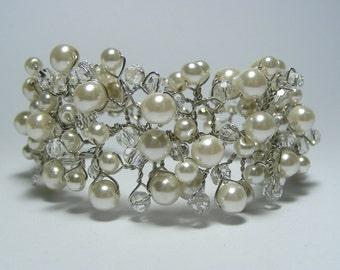 Bridal cuff bracelet, Wedding bracelet, Pearl cuff bracelet, Vine cuff bracelet
