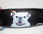 English Bulldog Hand Painted Eyeglass Case Vegan