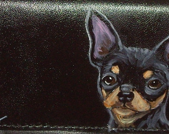Chihuahua Dog Custom Painted Women's Leather Wallet