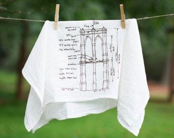 Brooklyn Bridge Tea Towel Kitchen Towel New York Hand Towel Linens Wedding Gift Housewarming Gift Dish Towel Dish Cloth