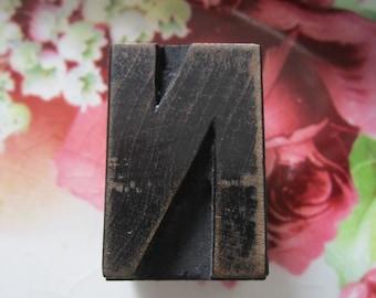 Vintage Letterpress Wood Type Printers Block Letter N