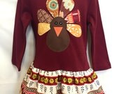 Gobble, Gobble Turkey Dress - Girls Thanksgiving Dress Outfit - With Matching Flower Clip