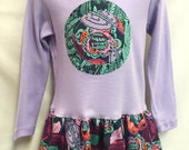 NEW! Girls Long Sleeve Lavender Applique Dress - Tunic Dress