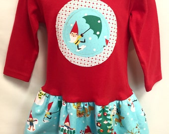 Girls Red Christmas Dress -Applique Holiday Frock with Christmas Gnomes