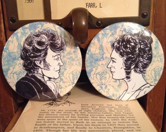 Pride and Predjudice Button or Magnet Set - Mr Darcy and Elizabeth - set of 2, Jane Austen Gift, Literary Gift, Bookish Art, Mr Darcy Magnet