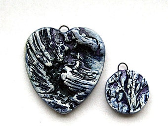 Heart Pendant  Wild Pacific Surf and Organic Texture Charm  Cobalt Blue
