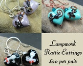 Rat lover's handcrafted lampwork earrings