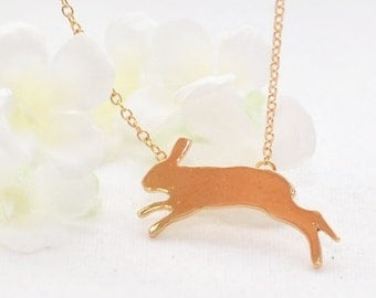 Running Rabbit Pendant Bunny Necklace Sunny - Bunny Pendant - Rabbit Jewelry - Bunny Rabbit Inspired