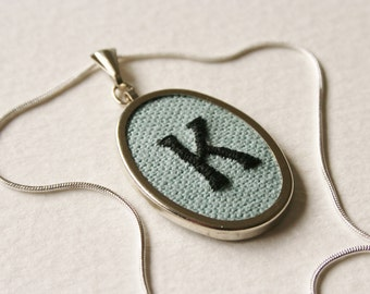 Initial Letter K Personalised Hand Embroidered Monogrammed Necklace